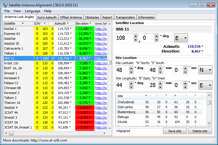 Click to view Satellite Antenna Alignment 2.99.0.0 screenshot